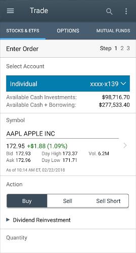 stock market app - Schwab Mobile