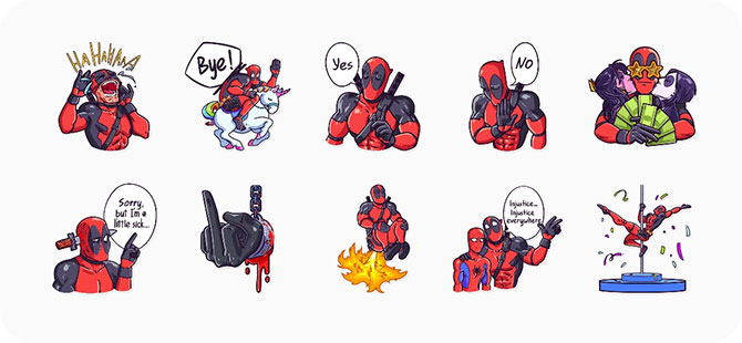 Cuplikan layar Telegram Deadpool Stickers