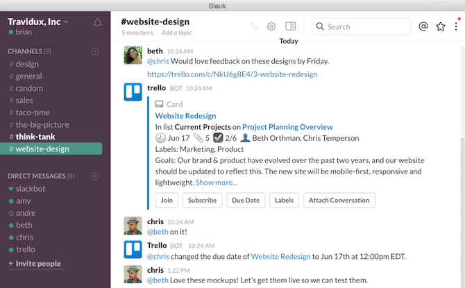 trello and slack