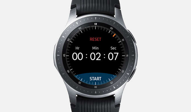 Screenshot of the Galaxy Watch with Timer App showing a running timer at 2 mintues