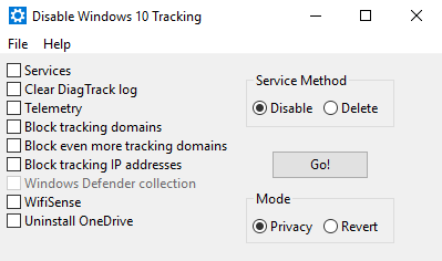02 - windows 10 privacy tool - disable win tracking