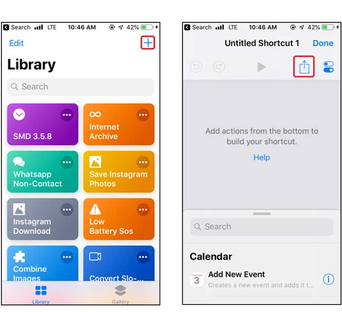 make a shortcut and tap the share button