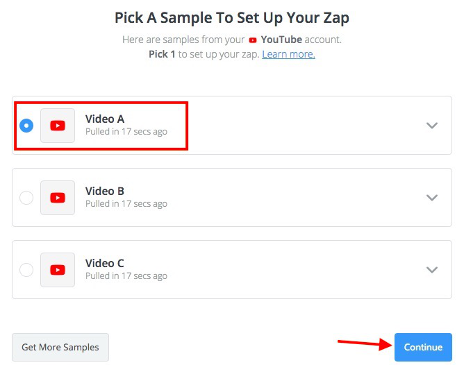 Zapier will search for videos on your channel