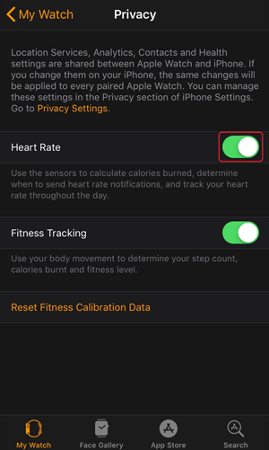disable auto heart rate monitor- Toggle switch