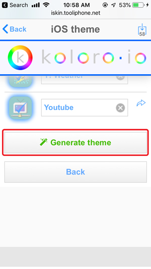 customize home screen on iPhone- ios theme generate