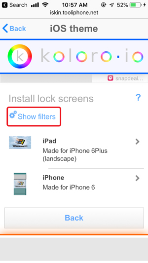 customize home screen on iPhone- show filters