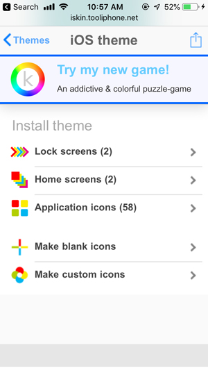 customize home screen on iPhone- theme components