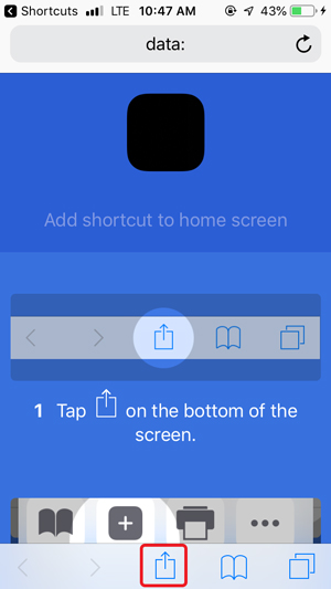 customize home screen on iPhone- safari add button