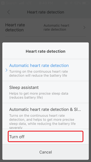 disable auto heart rate monitor-
