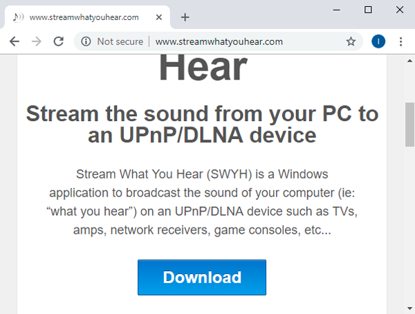 Stream Audio from PC to Android- download swyh