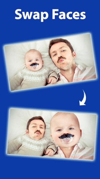 Cupace app with screenshot of a father and son replacing their faces.