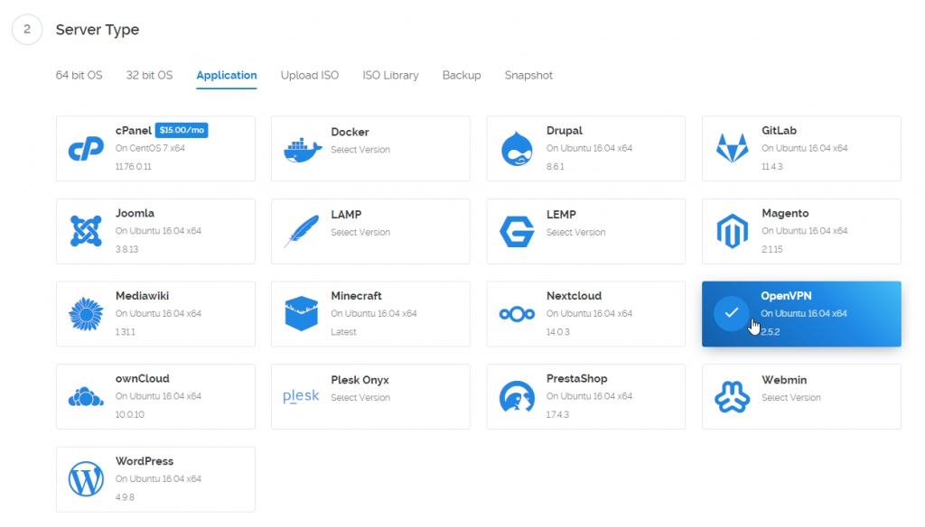 create vpn server 03 - select openvpn