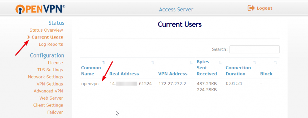 create vpn server 18 - connected users