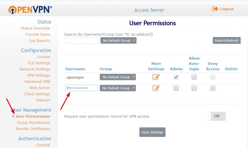 create vpn server 19 - create new user