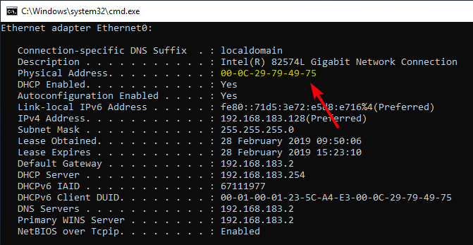 fix dns server not responding 14 - copy mac address