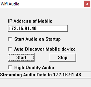 Stream Audio from PC to Android- running