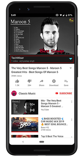 press on down button to access youtube playlist options