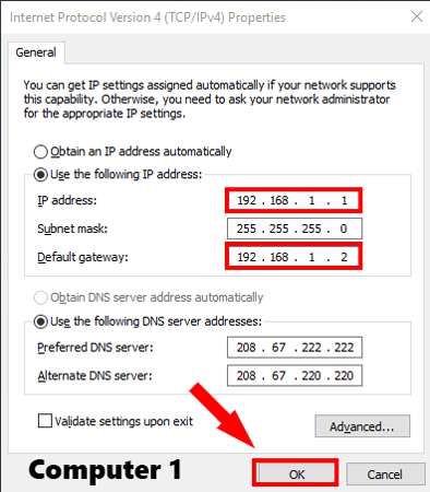 Computer1_StaticIP option on windows pc settings