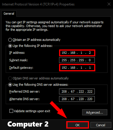 Computer2_StaticIP option on windows pc settings
