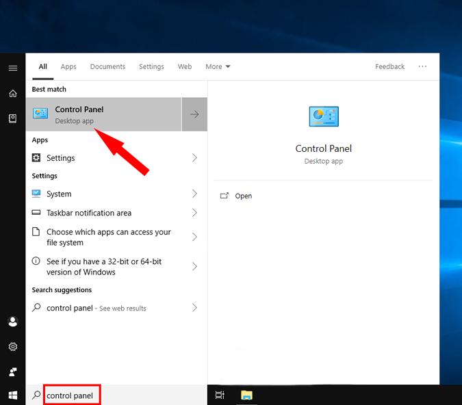 Control_Panel option on windows pc settings