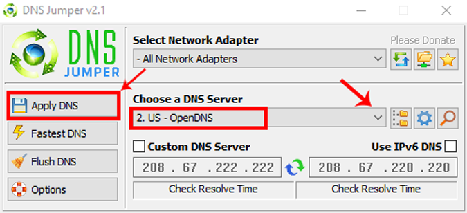 DNS_Jumper_App_Interface