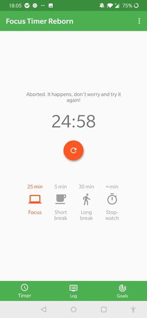 pomodoro apps for android- focus timer reborn