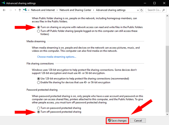 advancedFileSharing_Settings option on windows pc settings