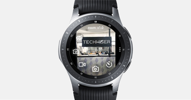 Screenshot of the Galaxy Watch with Camera app showing the Camera Controls with Techwiser in the viewfinder