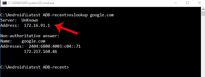 nslookup_command on windows