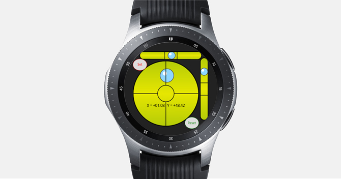 Screenshot of the Galaxy Watch with Spirit Level Pro showing the Spirit bubbles close the center point.
