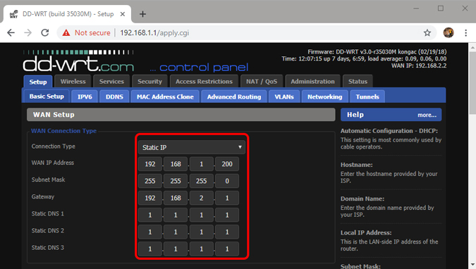 static_ip_other_router