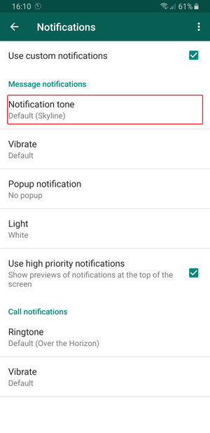 whatsapp custom notification- tone