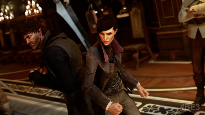 Dishonored 2- A guy and a lady are dishonored at a wedding and are now backed up against each other