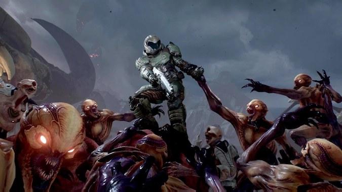 Doom 2016- Doom guy fighting monsters in a pit.