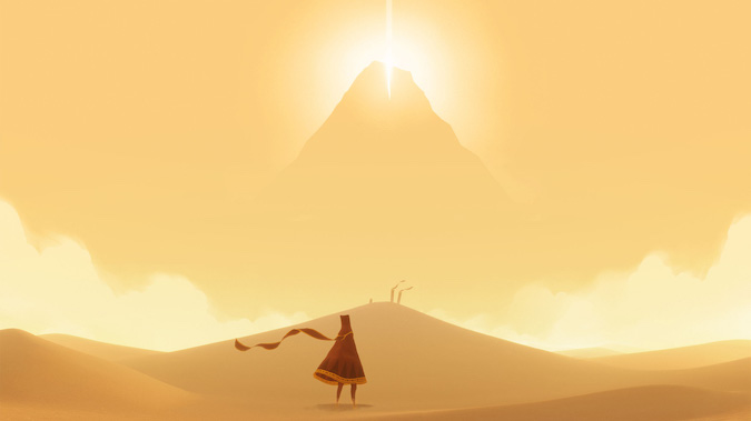 Journey- minimal scenery with the protagonist in the middle
