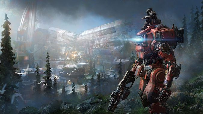 Titanfall 2- Very Big Giant Mecha Robot suit in the foreground and the pilot sitting on the top.