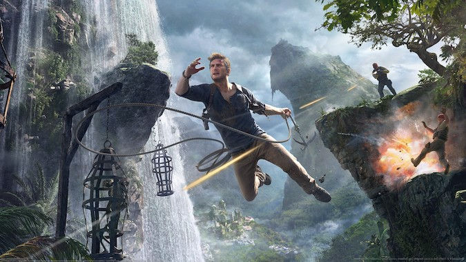 Uncharted 4- protagonist jumping off a cliff using a rope and enemy firing at him from behind