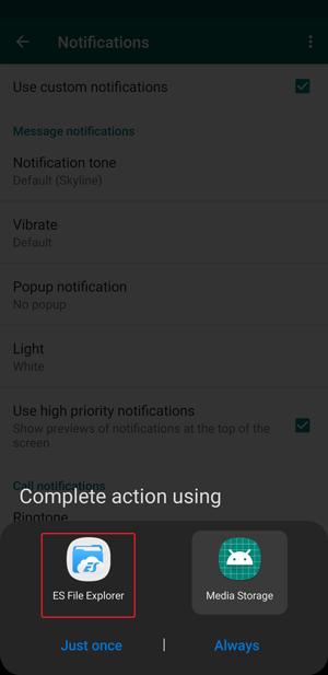 whatsapp custom notification- file manager