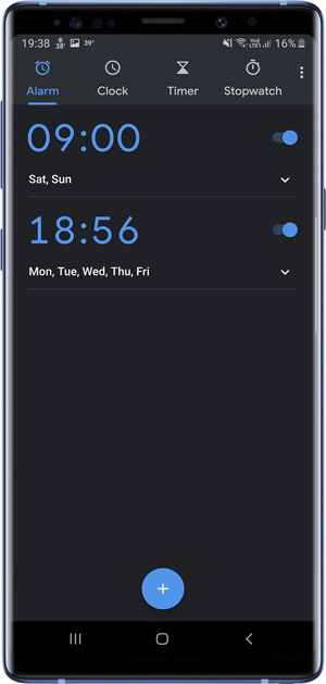 apps with dark mode- Alarm