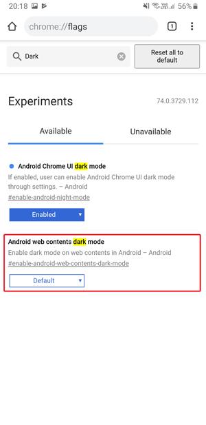 Dark mode on Google Chrome- web content