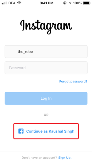 remove saved login info on Instagram- continue as facebook