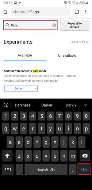 Dark mode on Google Chrome- dark go