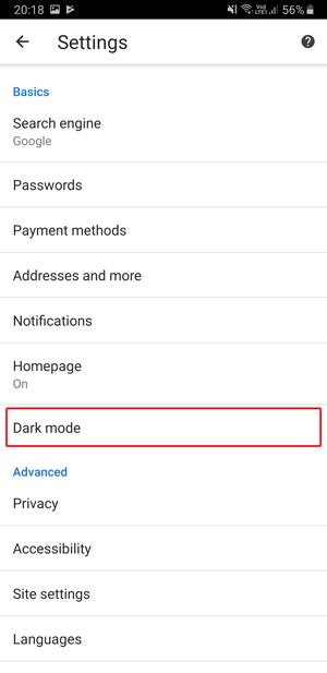 Dark mode on Google Chrome- settings dark mode