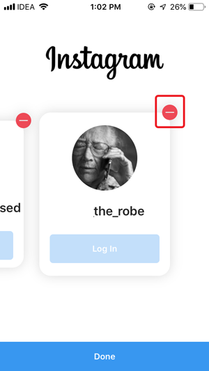 remove saved login info on Instagram- red button