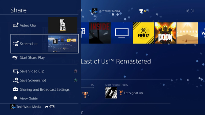 Take Screenshots on PS4- display Menu