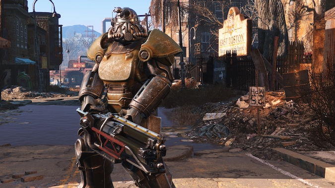 Fallout 4- Fallout guy heavily armoured.