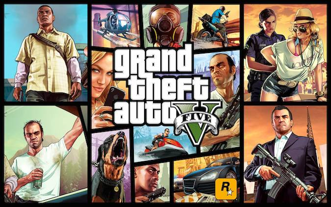 GTA 5- GTA classic loading screen with all the characters.