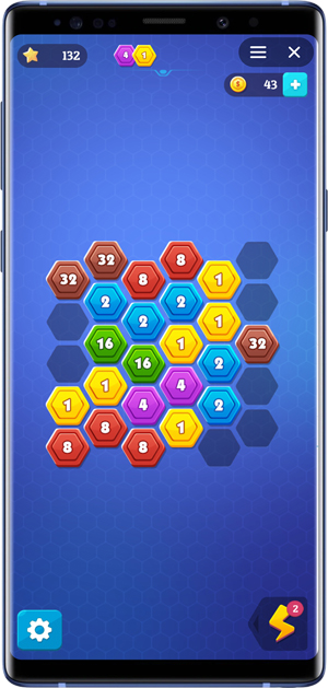 2048 alternative- hexagon connect
