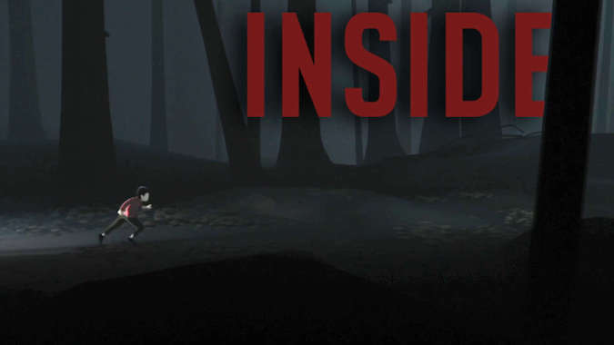 inside Logo in red, The boy running in the woods with a light source in background