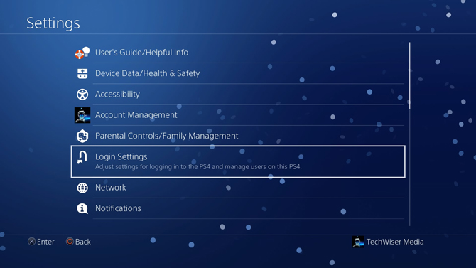 login settings put a password on PS4-